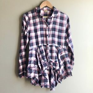 Amazing Trendy Tiered Unfinished Edge Flannel